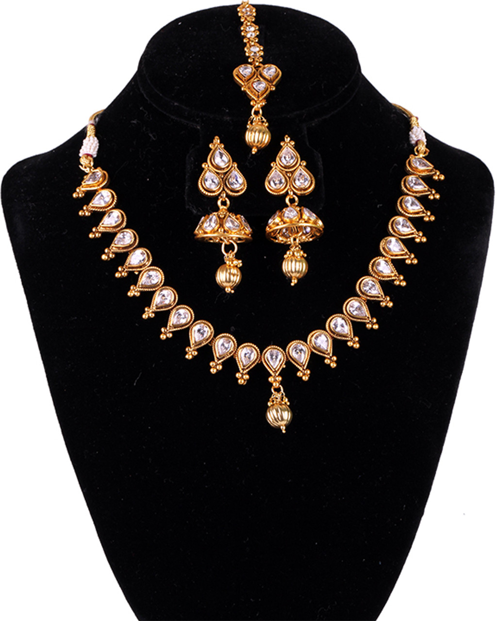 Indian Bollywood Gold Plated Kundan Stones Necklace Earrings