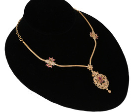 DollsofIndia Gold Plated Pendant with Chain and Earrings GV96 Chain Length 15 inches