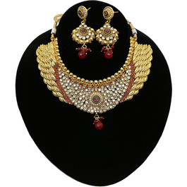 Ruby Maroon Pearl White Kundan Golden 8pcs Bridal Necklace Set Reception Wedding Bridal & Wedding Party Jewelry Jewelry & Watches