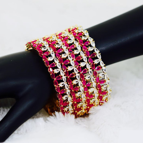 1104791f513 22K Gold Bangles Indian Designs Pink and White Cubic Zirconia Bracelet Size  2/10
