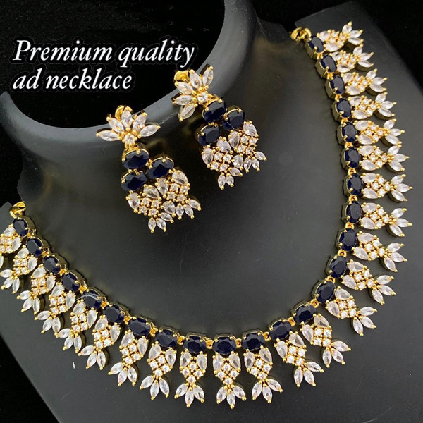 Cz Choker Handmade Gold Plated American Diamond Necklace With Black Stone Indian Designs