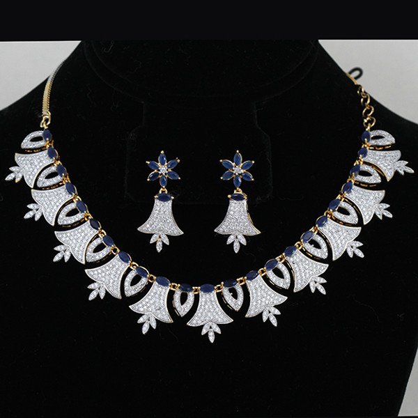 484d08f61 Diamond Replica AD Necklace with Royal Blue stone - Indian Designs