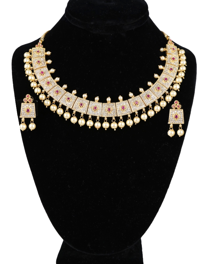 Exquisite Sense Of Style Gold Plated American Diamond Cz Bridal Necklace Set With Rubies And Pearls