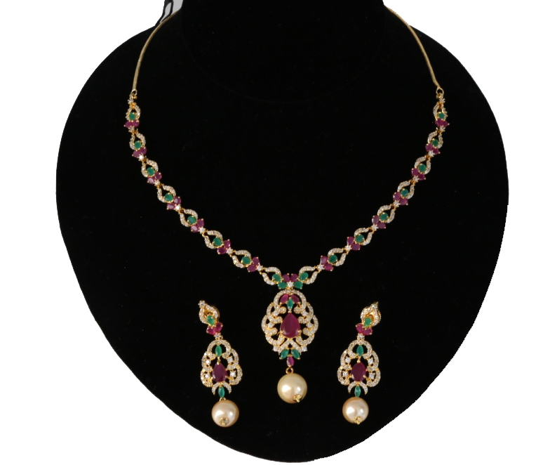 Ad Necklace Set With Low Price Ruby And Emerald Stones Awesome
