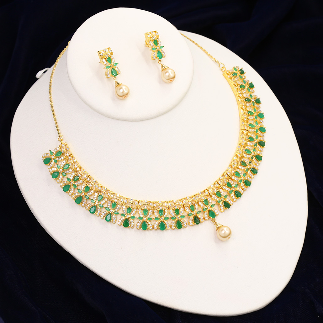 Cz stones necklace Indian bridal jewelry Imitation jewelry Artificial jewelry