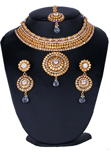 Costume fashion bridal necklace set with red and clear stones jewelry