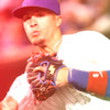 Javier Baez wearing SSK glove and throwing ball