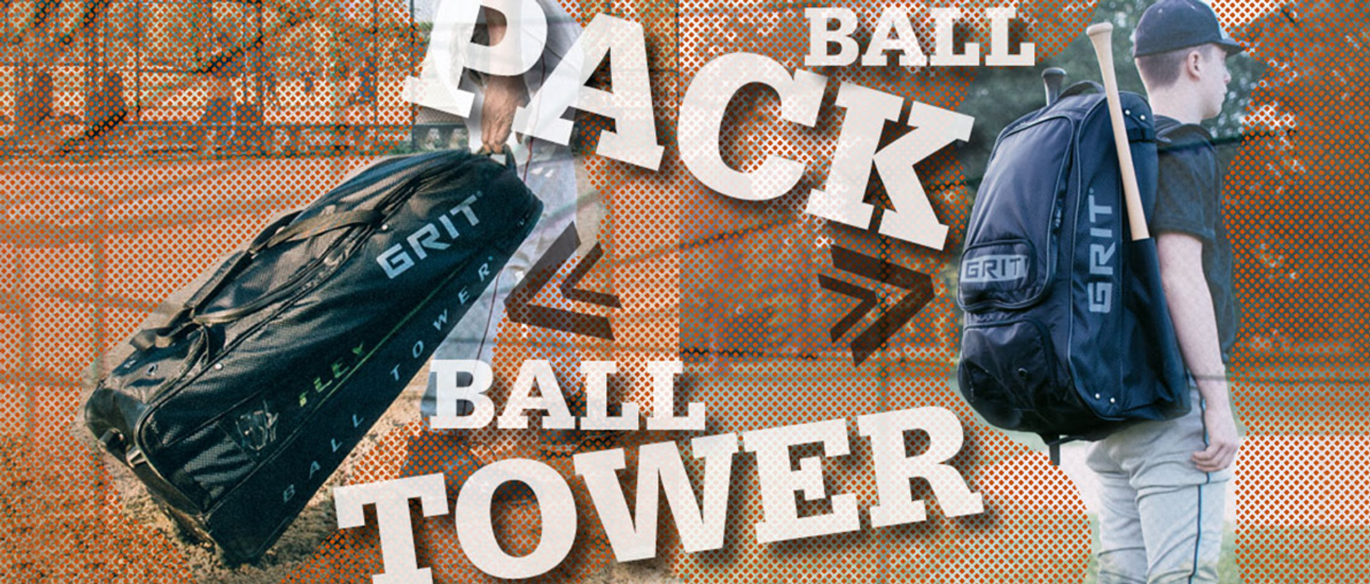 Grit Ball Tower being rolled on ground and ball pack carried on player's back