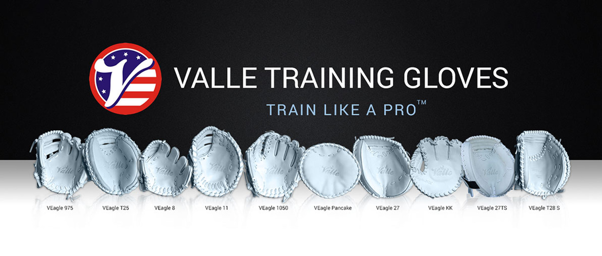 Valle Training Gloves in a row under the Valle logo and 'Train Like a Pro'