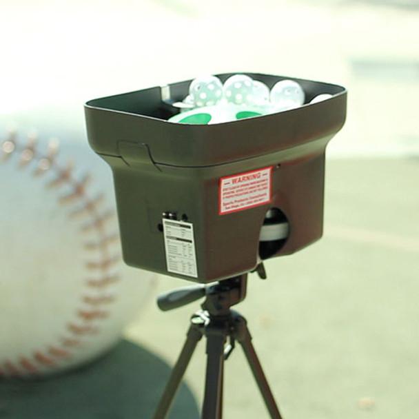Personal Pitcher PRO Pitching Machine on tripod