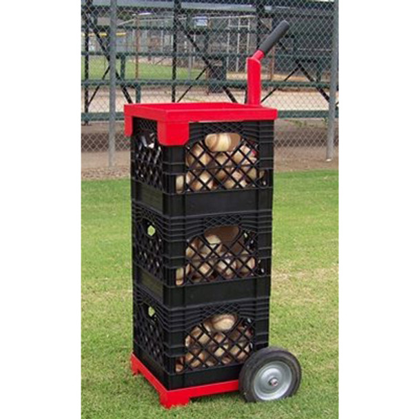 Baseball Crate Mate Loaded with 3 Crates of Baseballs