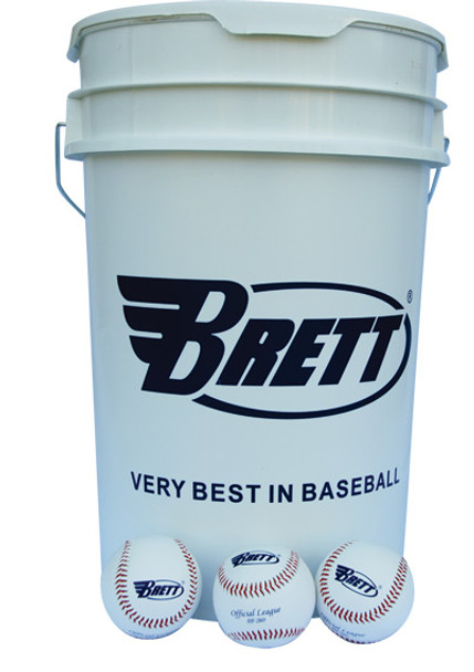 Brett Practice Baseballs and Bucket