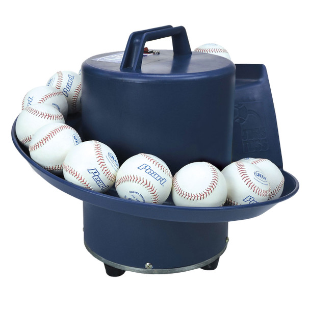 JUGS Soft Toss Machine loaded with Pearl baseballs