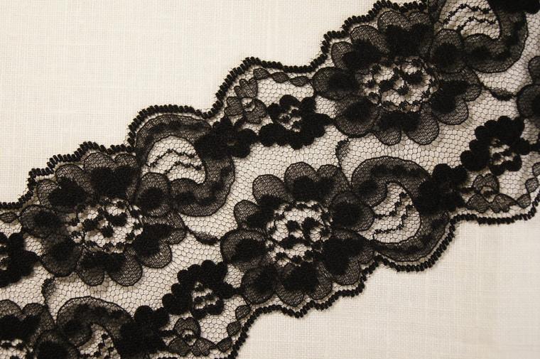 """3 1/2"""" Black Floral Lace Trim Wholesale"""