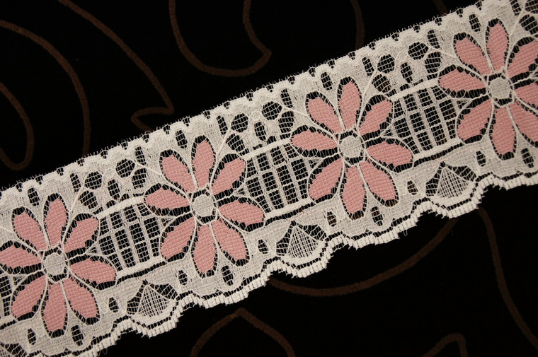 "Dusty Rose Floral Ivory Lace Trim Wholesale 2-1/2"" wide"