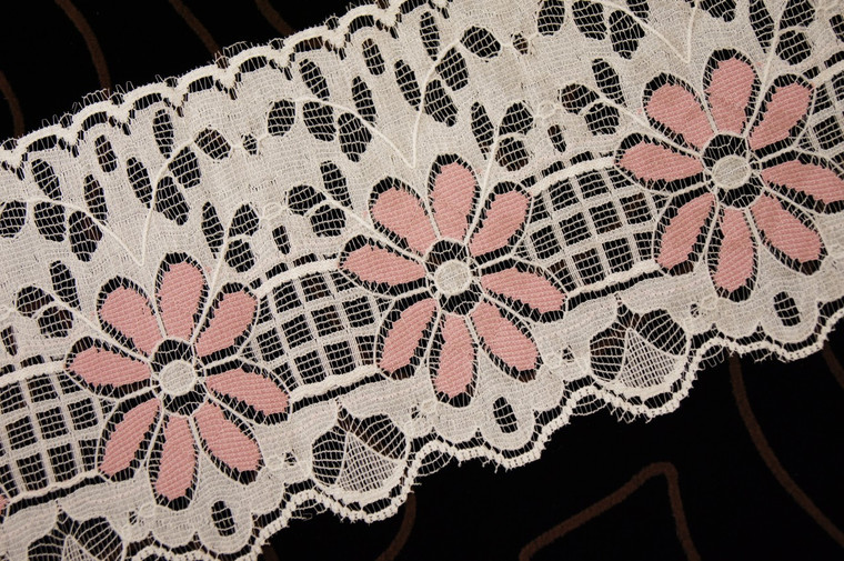 "4"" Ivory Tea Rose Floral Wholesale Lace Trim #lace-190"