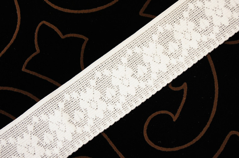 "1 7/8"" Natural White Floral Stretch Lace Trim Wholesale"