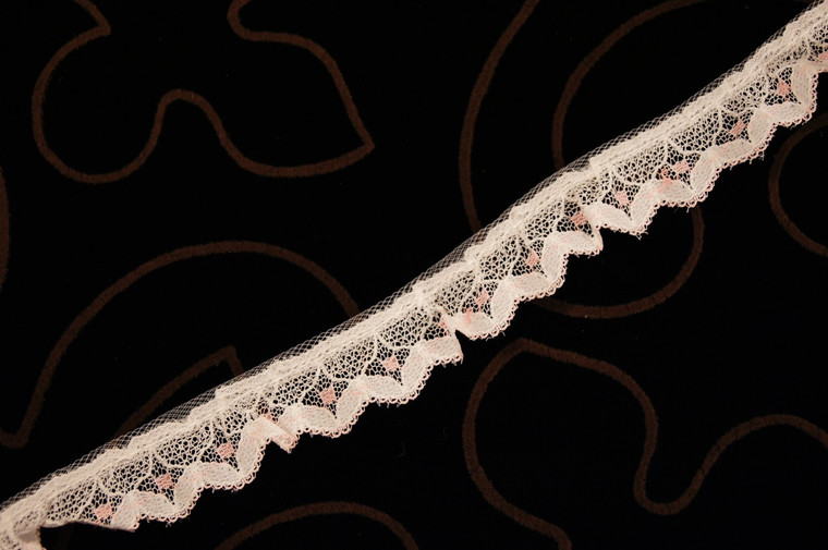 "3/4"" Pink White Ruffled Wholesale Lace Trim #lace-47"