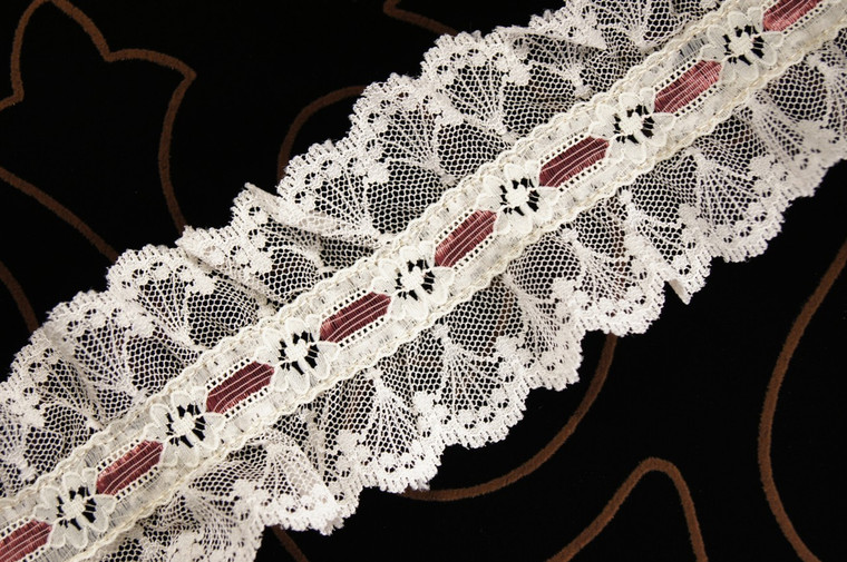 "3"" Rose Off-White Floral Ruffled Lace Trim Wholesale"