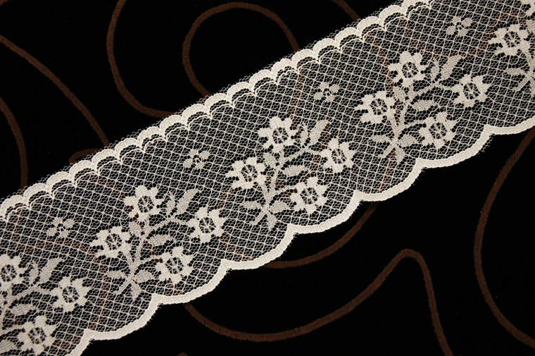 "2 1/4"" Ivory Floral Scalloped Lace Trim Wholesale"