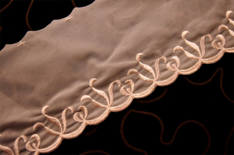 """4 1/2"""" Light Nude Embroidered Sheer Lace Trim #1003"""