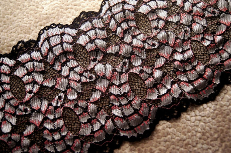 "6 3/4"" Black Sheen Silver Pink Vintage Galloon Lace Trim #1022"