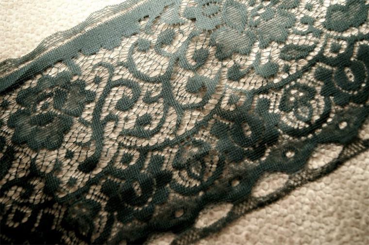 """7 1/2"""" Dark Green Vintage Lace Trim #1042"""