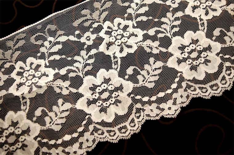 "6 1/2"" Natural White Raschel Floral Lace Trim #1072"