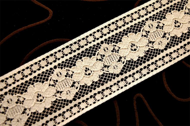 """2 1/8"""" Ecru Floral Lace Trim #1106"""