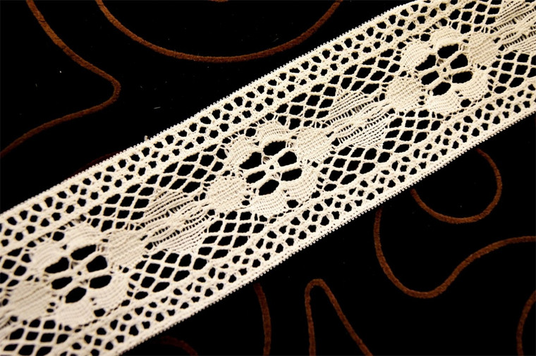 "2 1/4"" Light Beige Vintage Floral Lace Trim #1118"