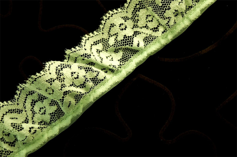 """1 1/2"""" Light Green Floral Ruffled Lace Trim Wholesale"""