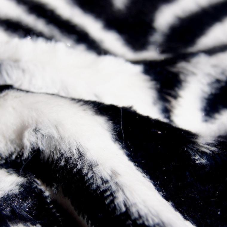 Zebra Animal Print Faux Fur Minky Fabric