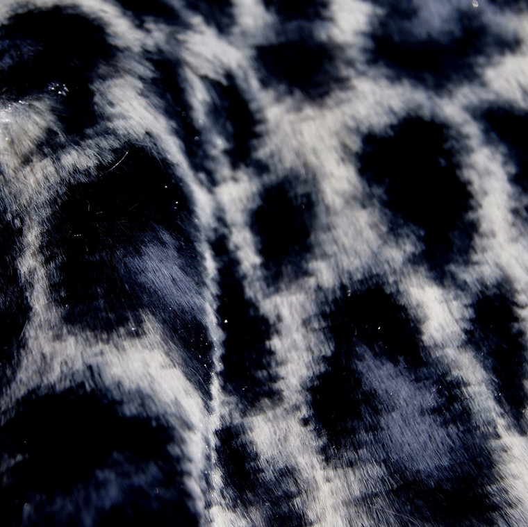 Snow Leopard Animal Print Faux Fur Minky Fabric