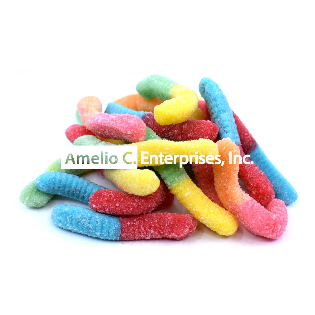 SOUR NEON GUMMI WORMS per LB