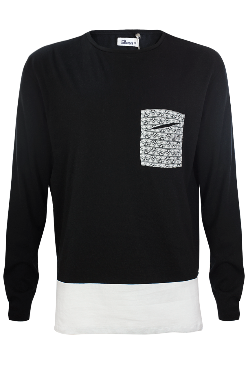 Black Long Sleeve Top With Patch Pocket and White Hem