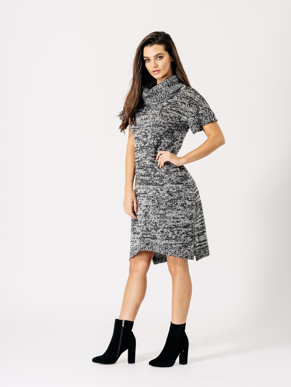 Grey Marl Roll Neck Knitted Dress