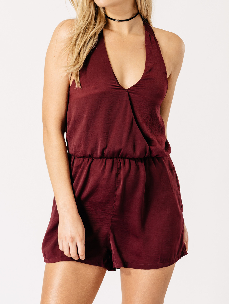 Burgundy Satin Halter Neck Playsuit