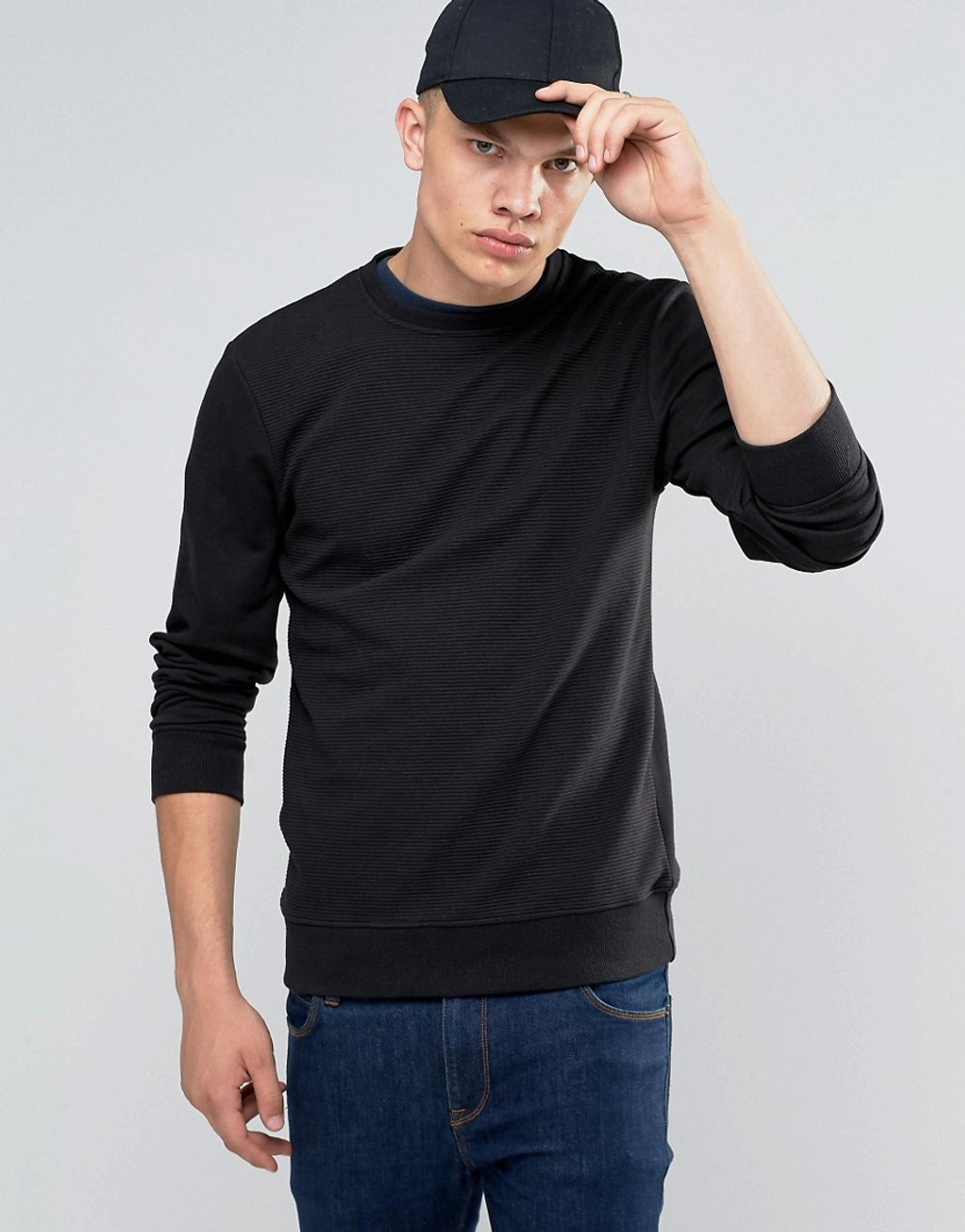Black Long Sleeve Crew Neck Ribbed Sweater
