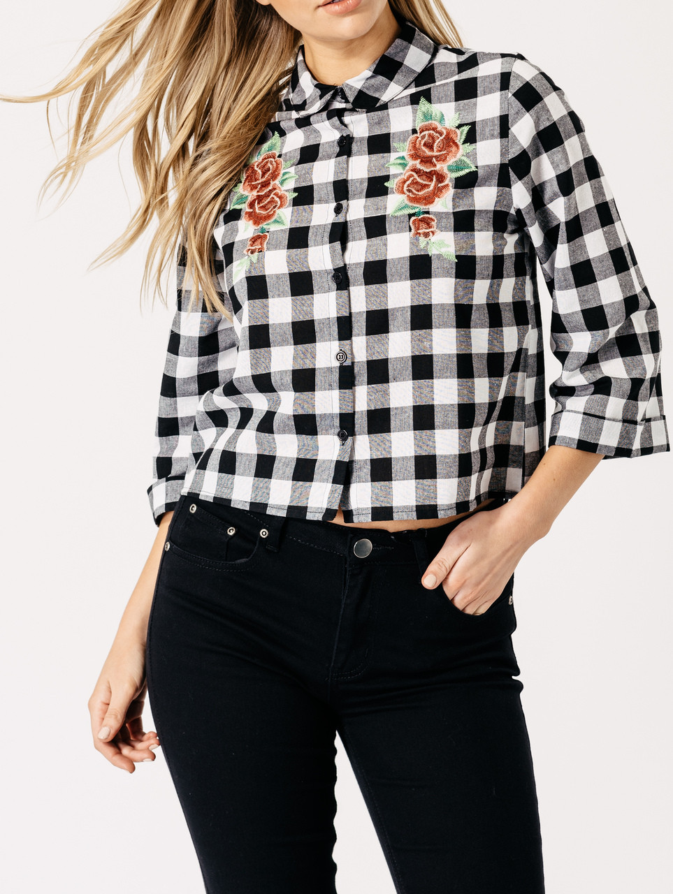 Black and White Monochrome Check Floral Embroidered Shirt