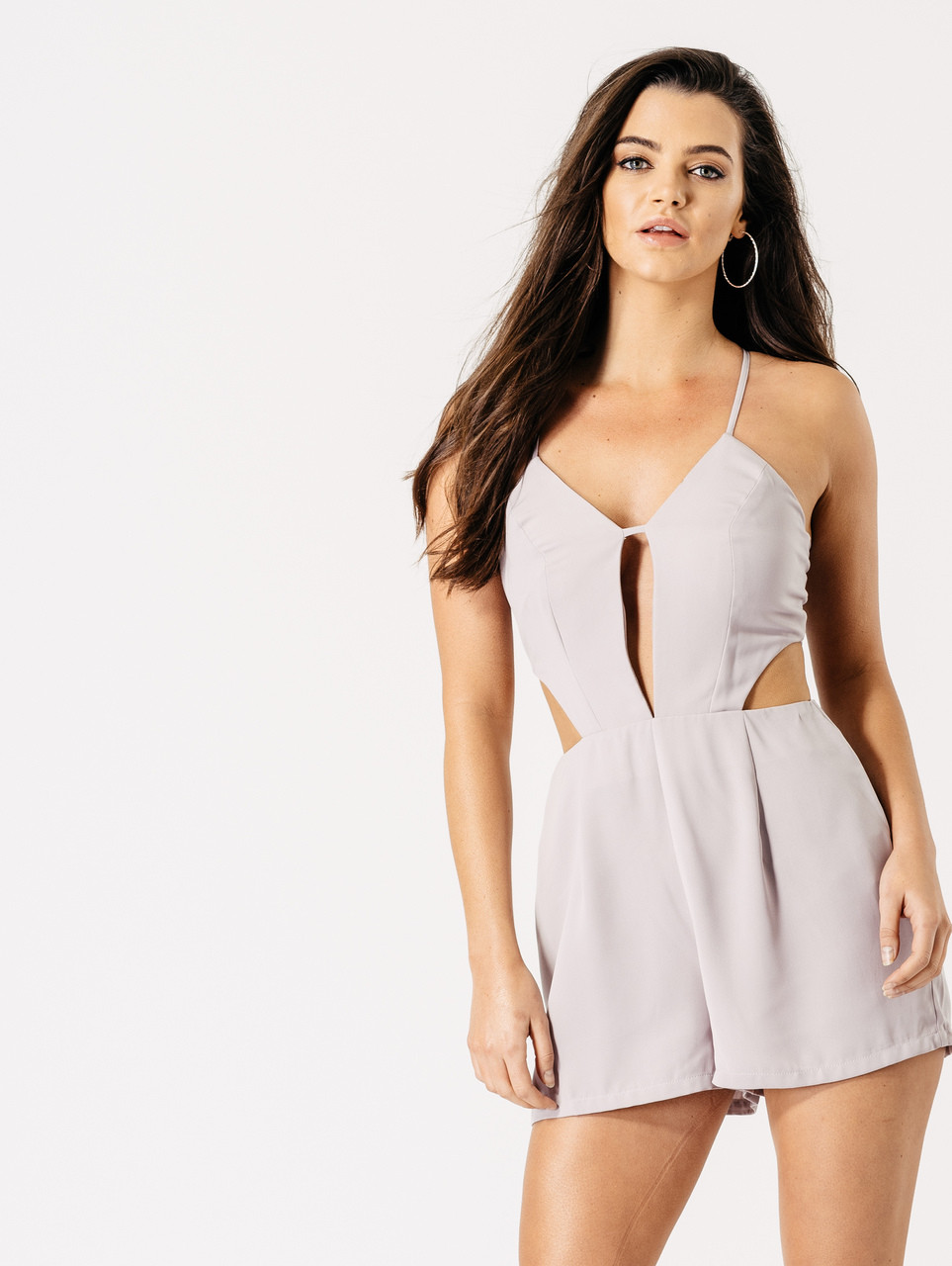 Strappy Deep V Neck Cutout Detail Playsuit