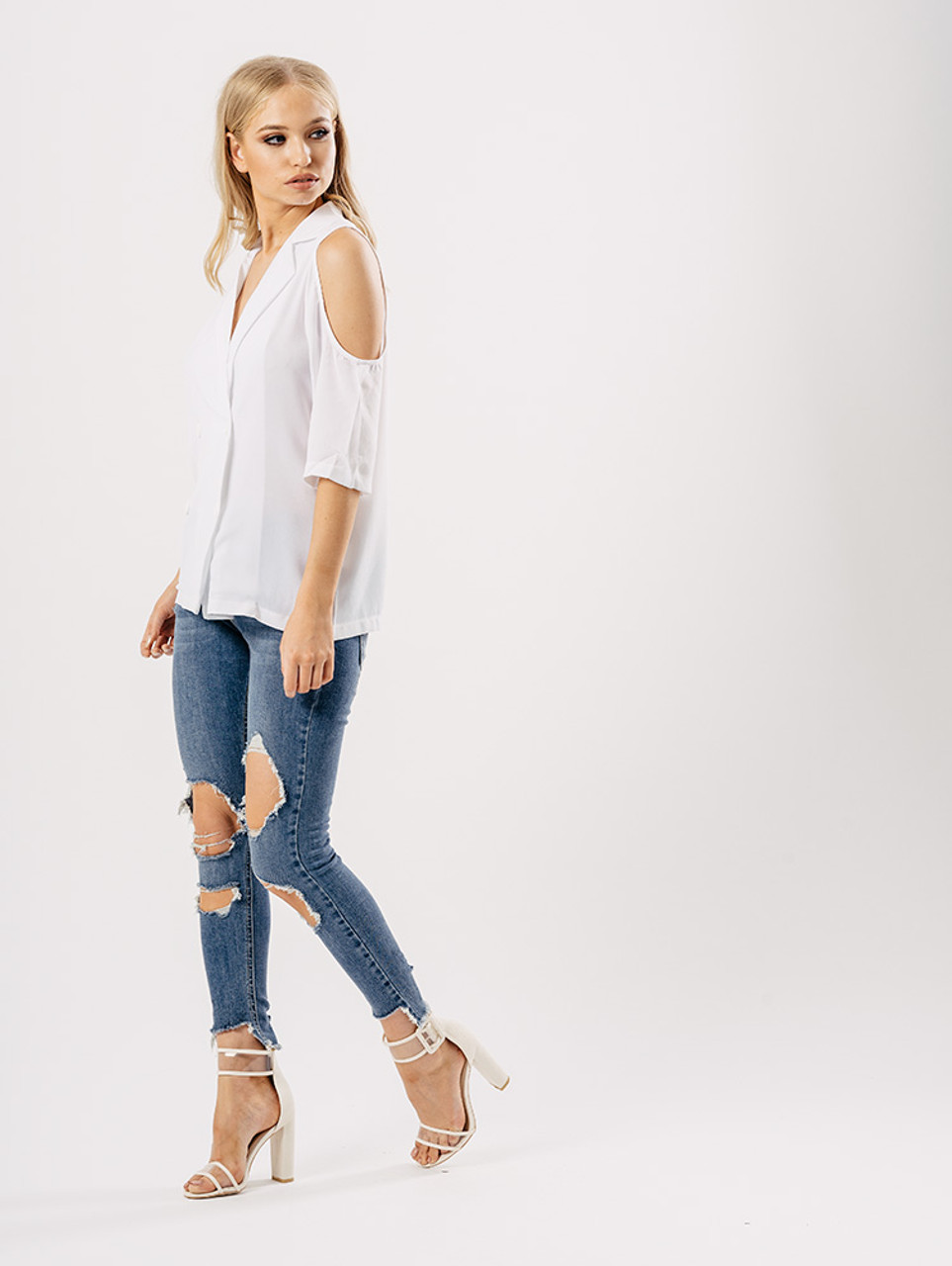 Double Breasted Cold Shoulder Blazer in White