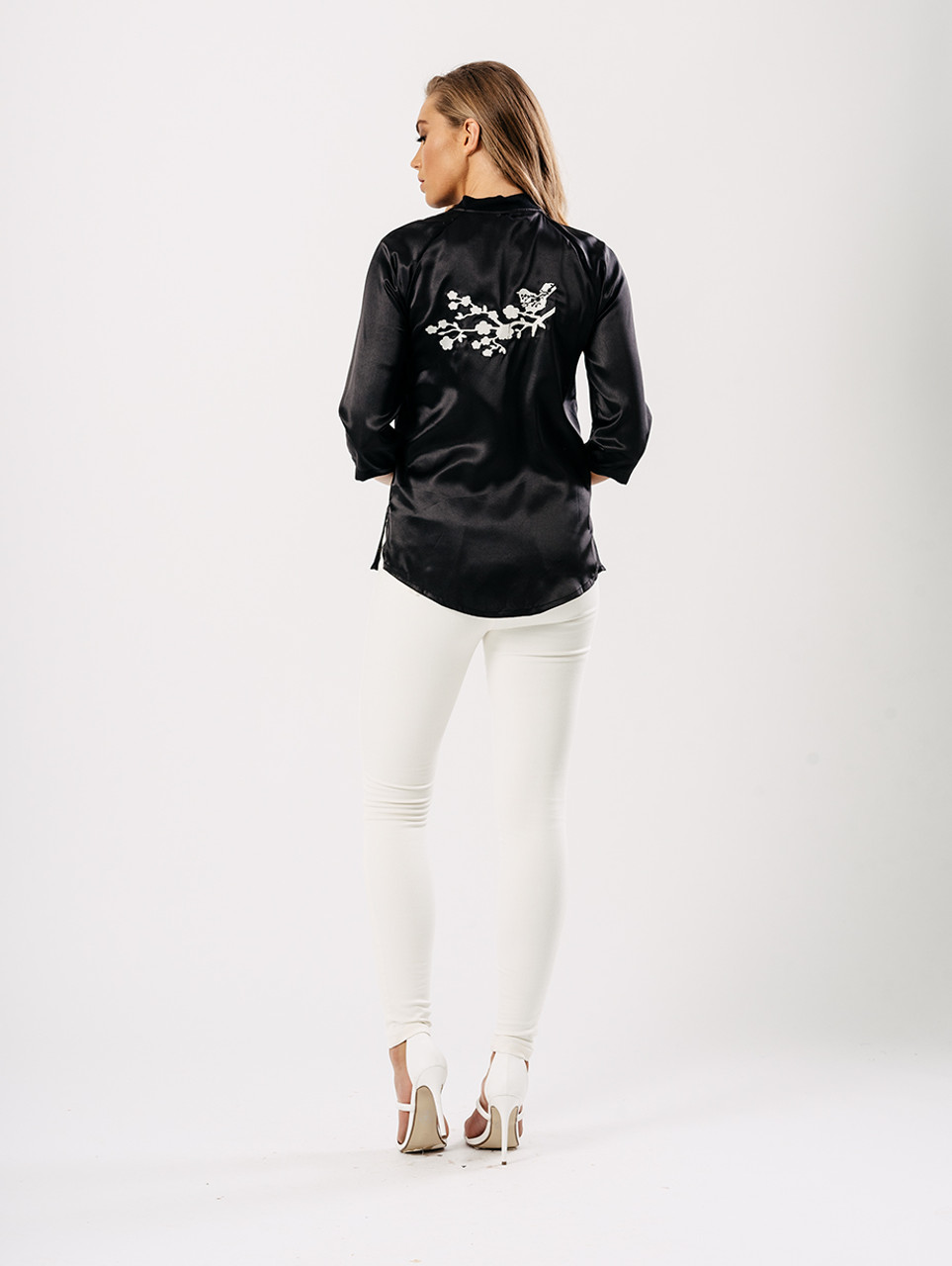 Black Satin Floral Embroidered Back Bomber Style Top