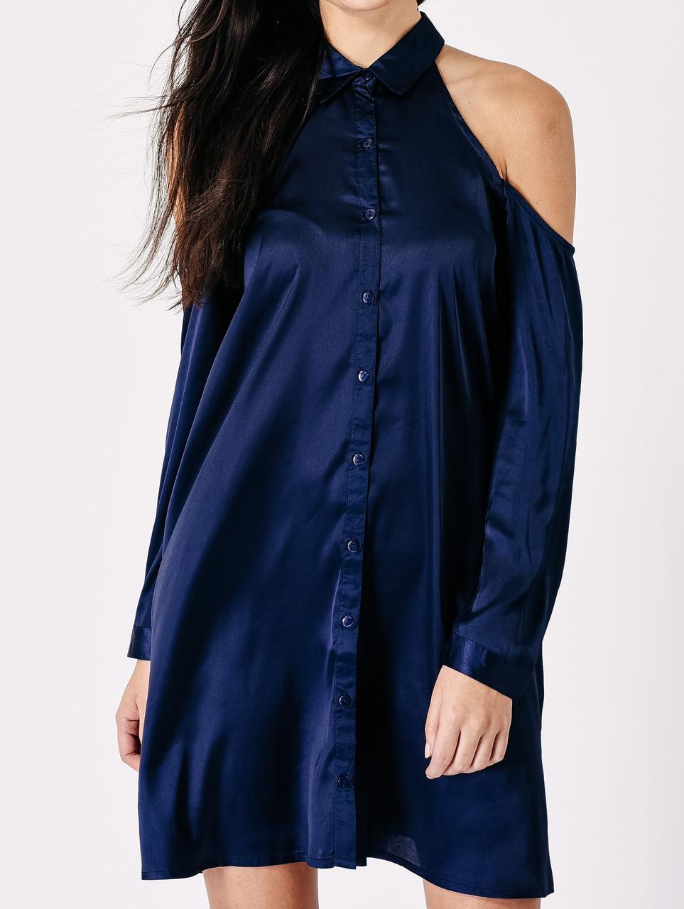 Navy Satin Cold Shoulder Shirt Dress