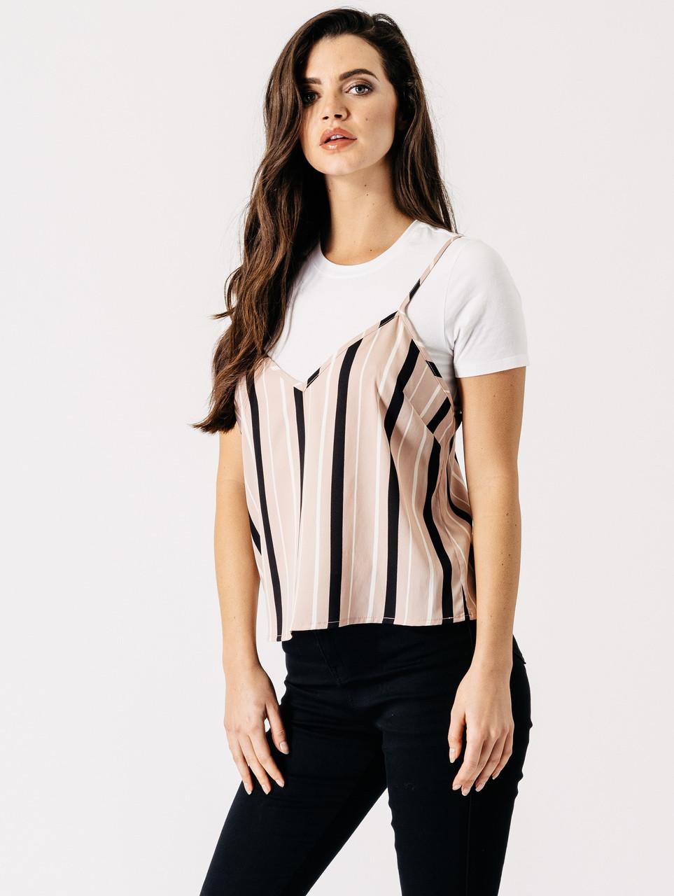 Pink Stripe Print 2 in 1 Top