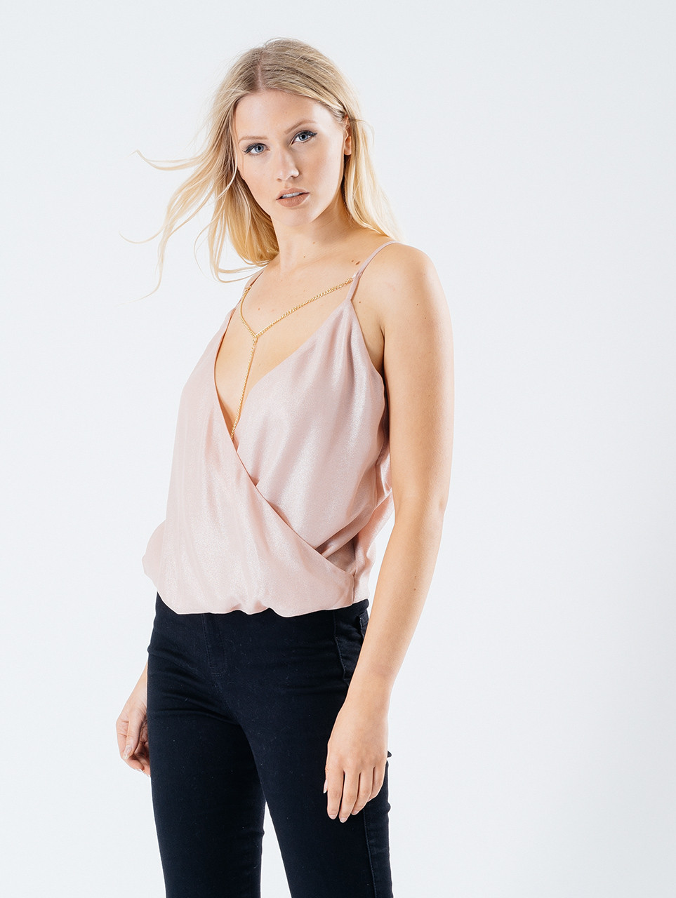 Pink Chain Detail Plunge Neck Wrap Cami Top