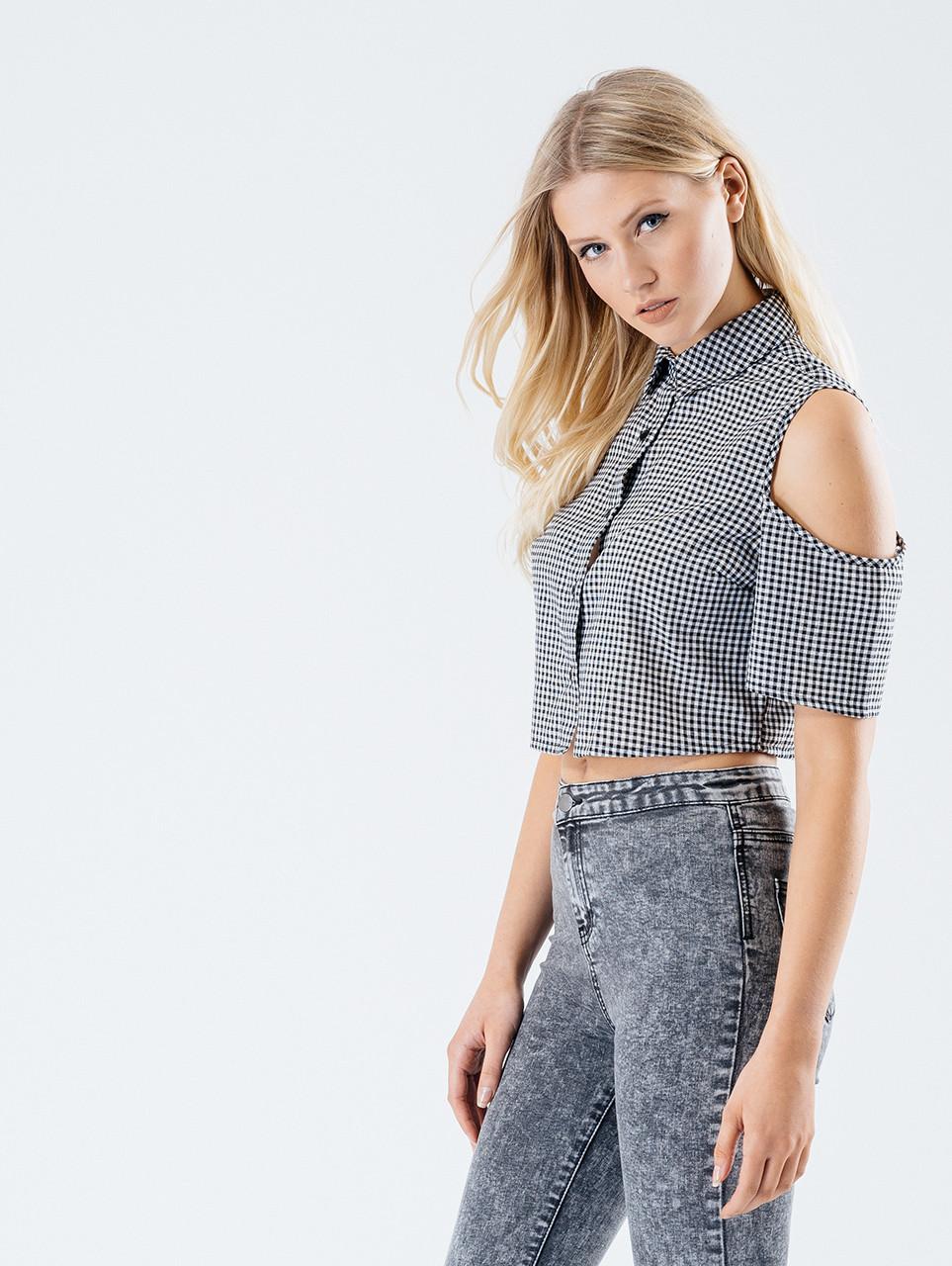 Monochrome Gingham Cold Shoulder Crop Shirt
