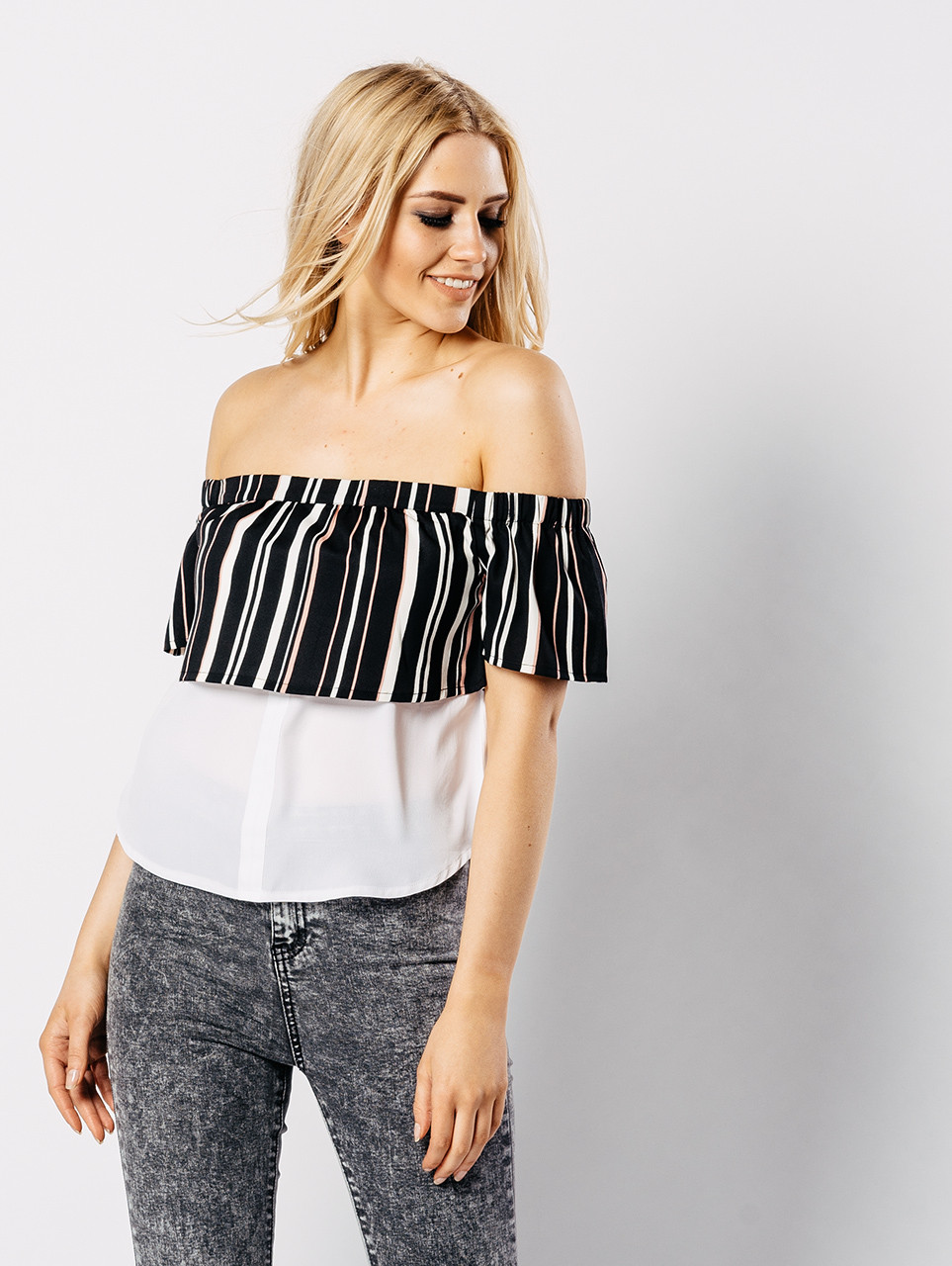 Double Layered Contrast Bardot Top
