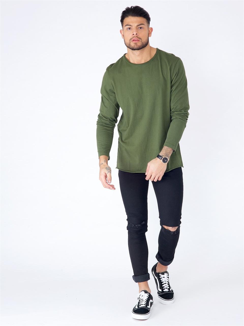 Khaki Long Sleeve Basic Raw Edge Top