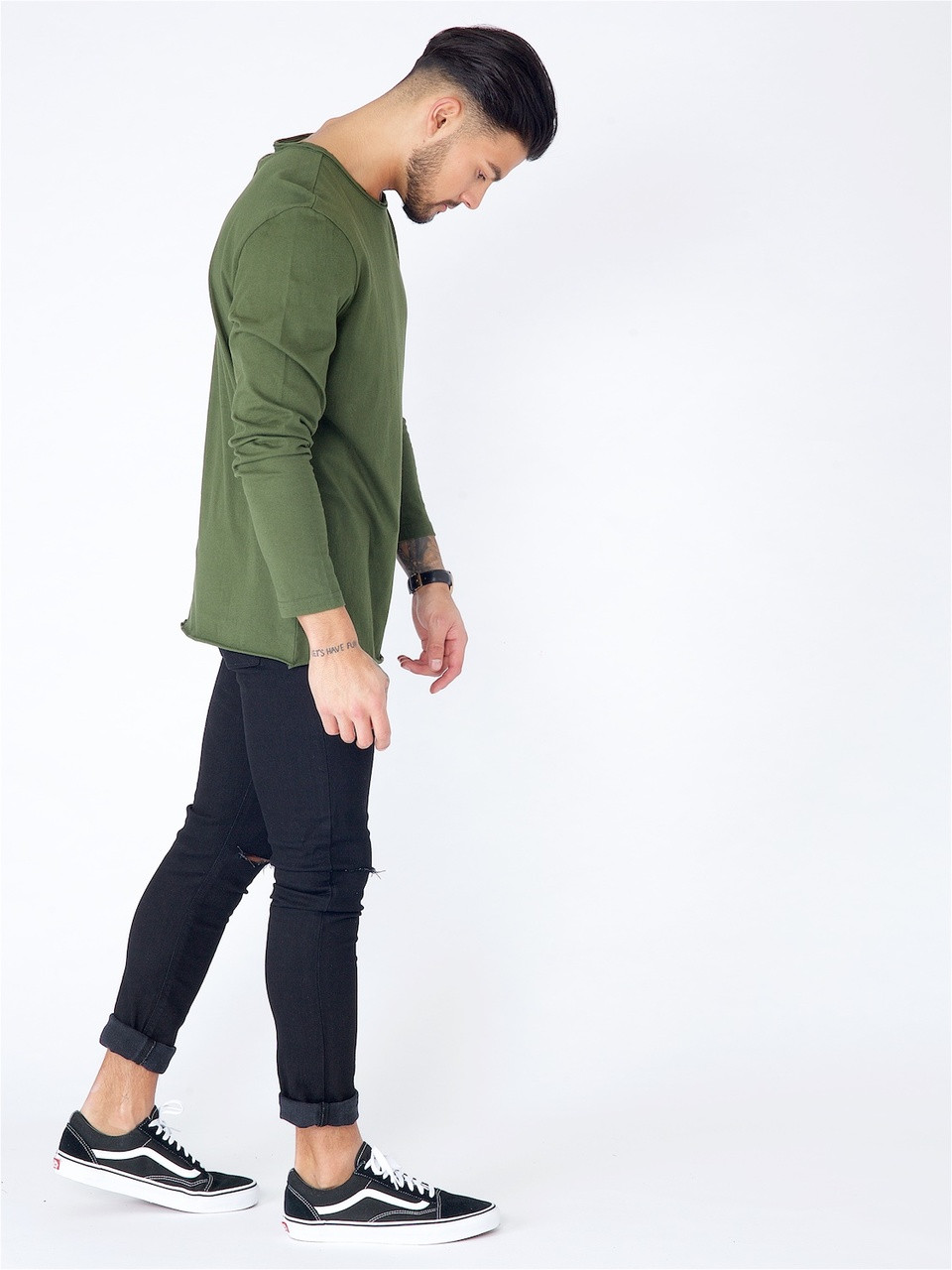 Khaki Long Sleeve Basic Raw Edge Top
