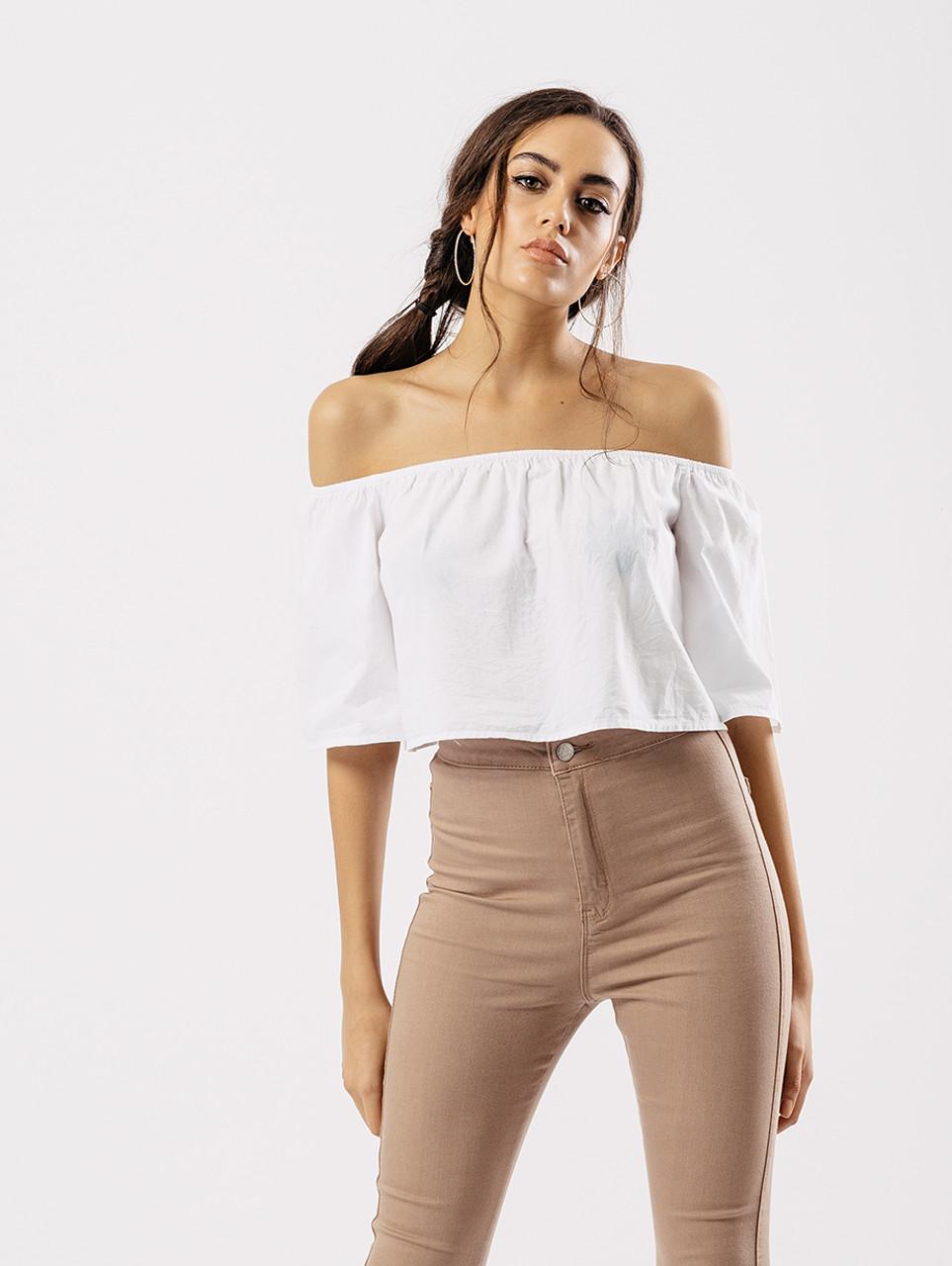 ee5c45c9f White Bardot Short Flare Sleeve Crop Top - Influence Fashion